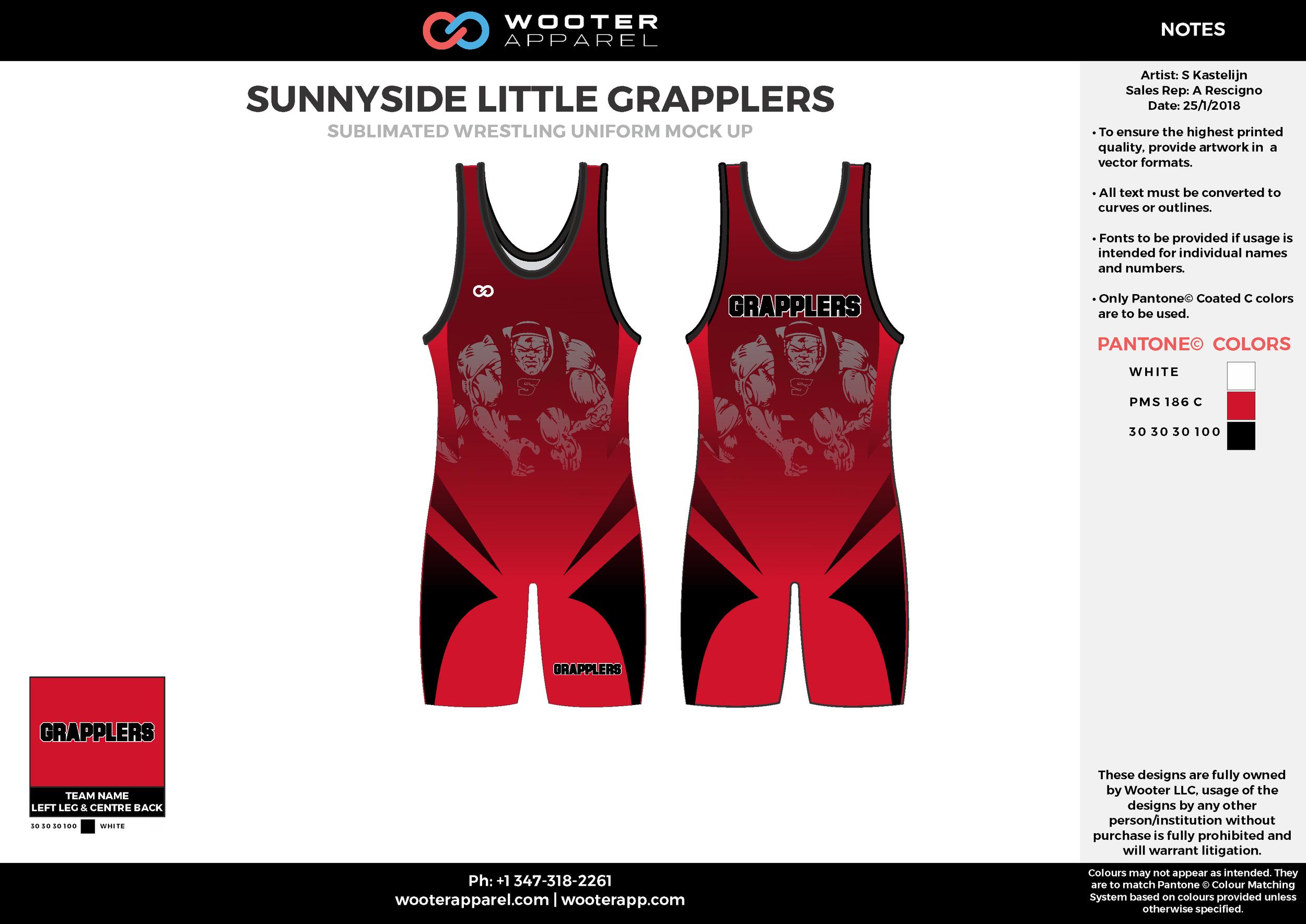 SUNNYSIDE LITTLE GRAPPLERS White Black Red Sublimated Wrestling Uniform