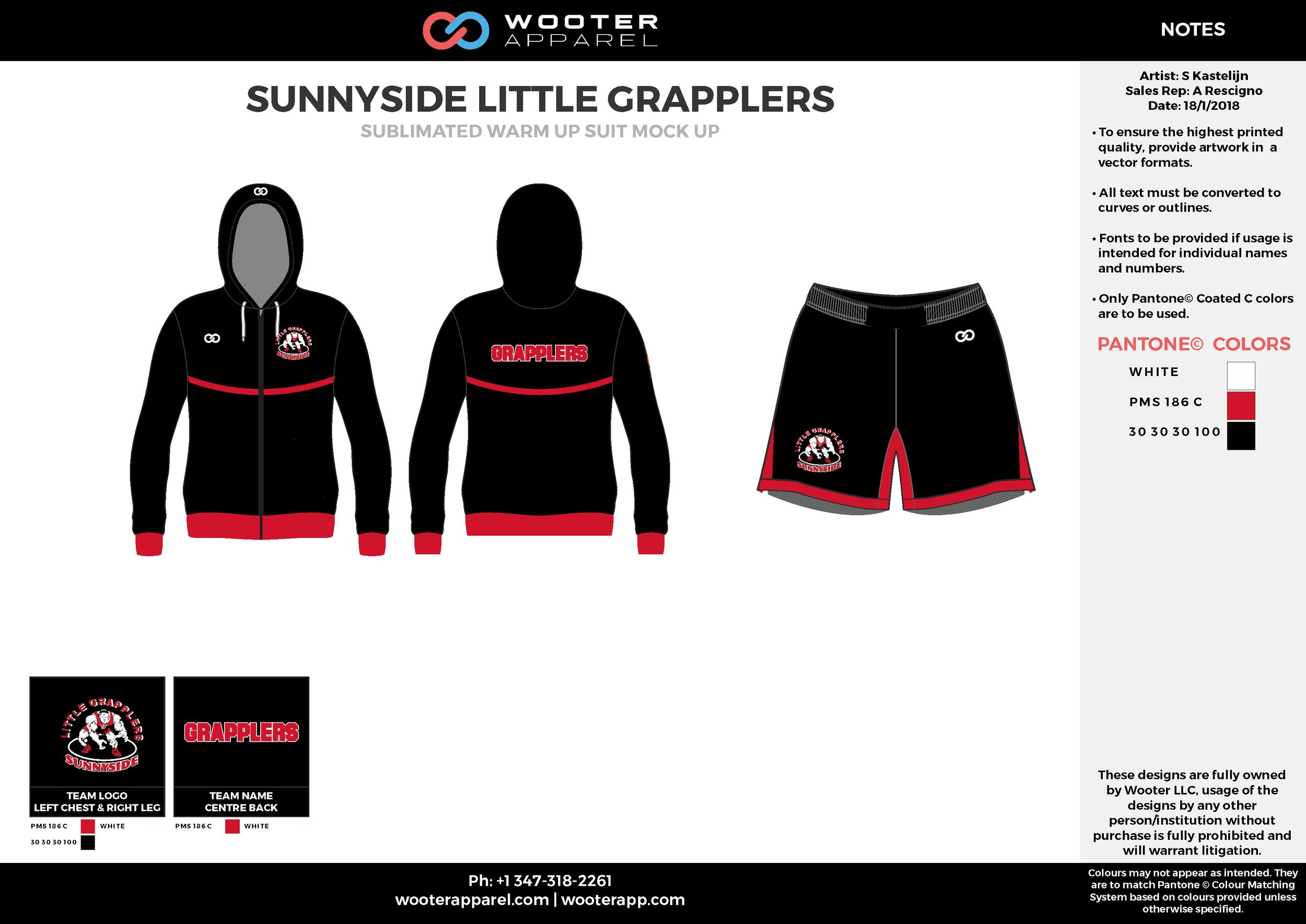 SUNNYSIDE LITTLE GRAPPLERS White Black Red Sublimated Wrestling Uniform, Hoodie Jacket, Shorts