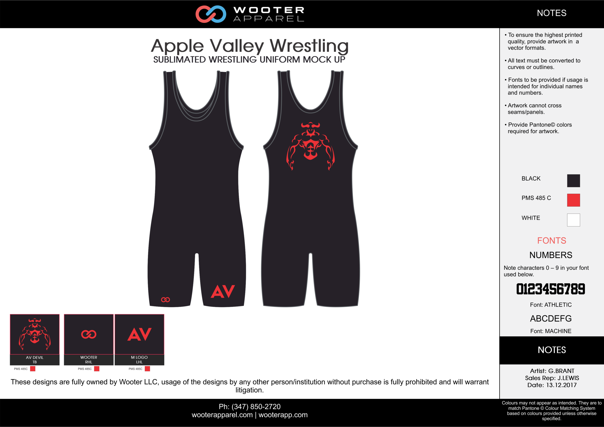APPLE VALLEY Black Red White Sublimated Wrestling Uniform