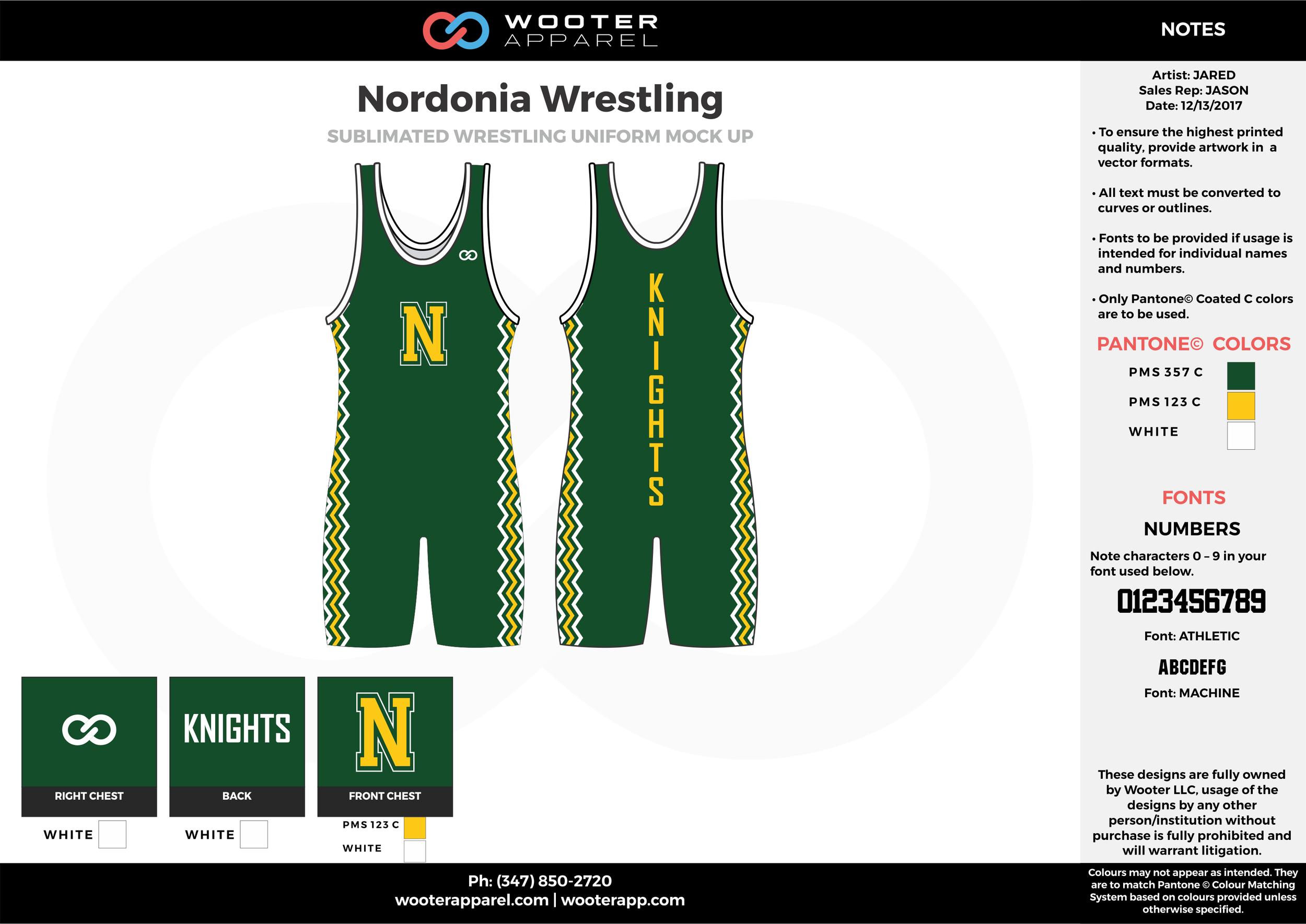 NORDONIA Green Yellow White Sublimated Wrestling Uniform