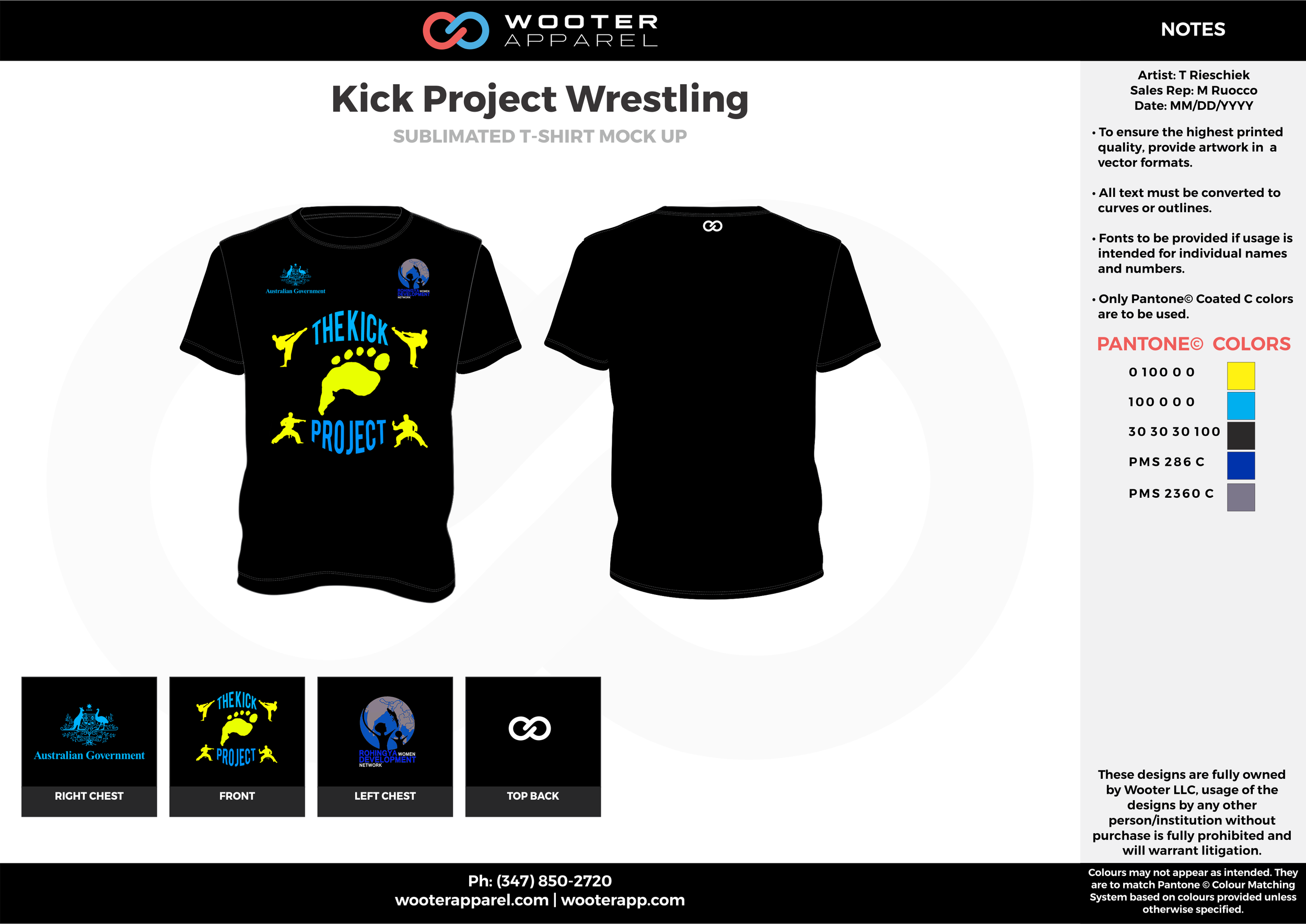 KICK PROJECT Black Yellow Blue Sublimated Wrestling T-Shirt