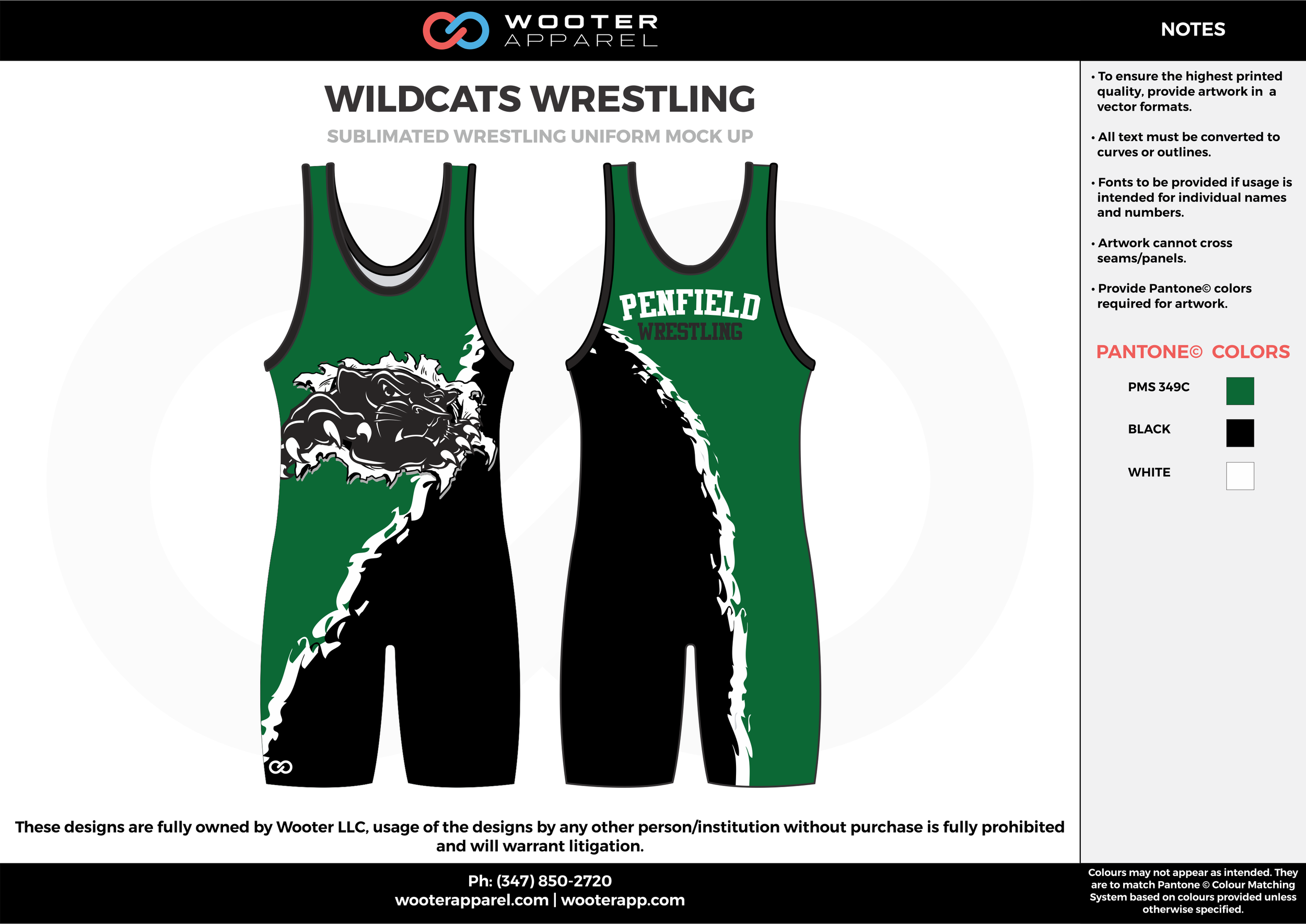 WILDCATS Green Black White Sublimated Wrestling Singlet