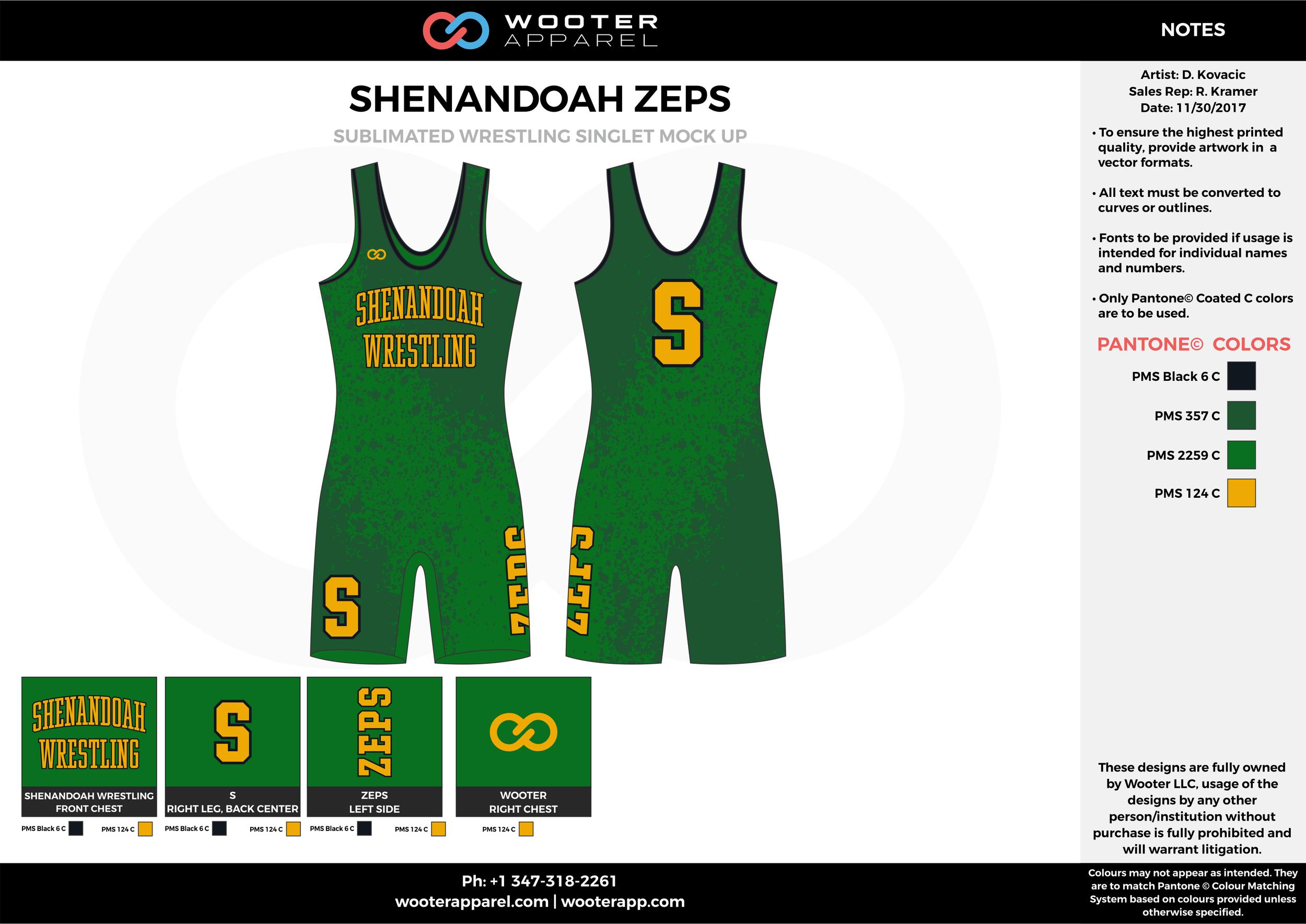 SHENANDOAH ZEPS Green Yellow Sublimated Wrestling Singlet