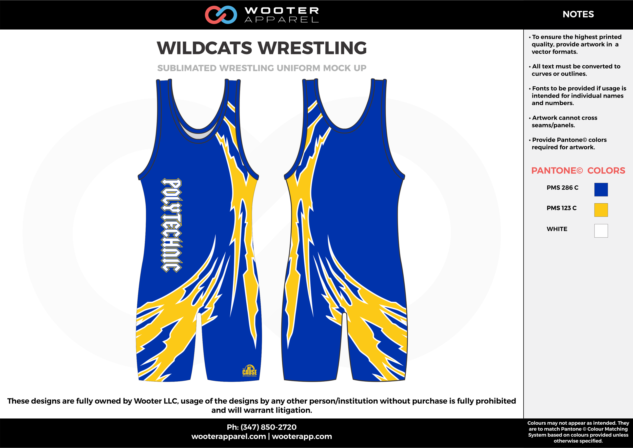 WILDCATS Blue Yellow White Sublimated Wrestling Singlet