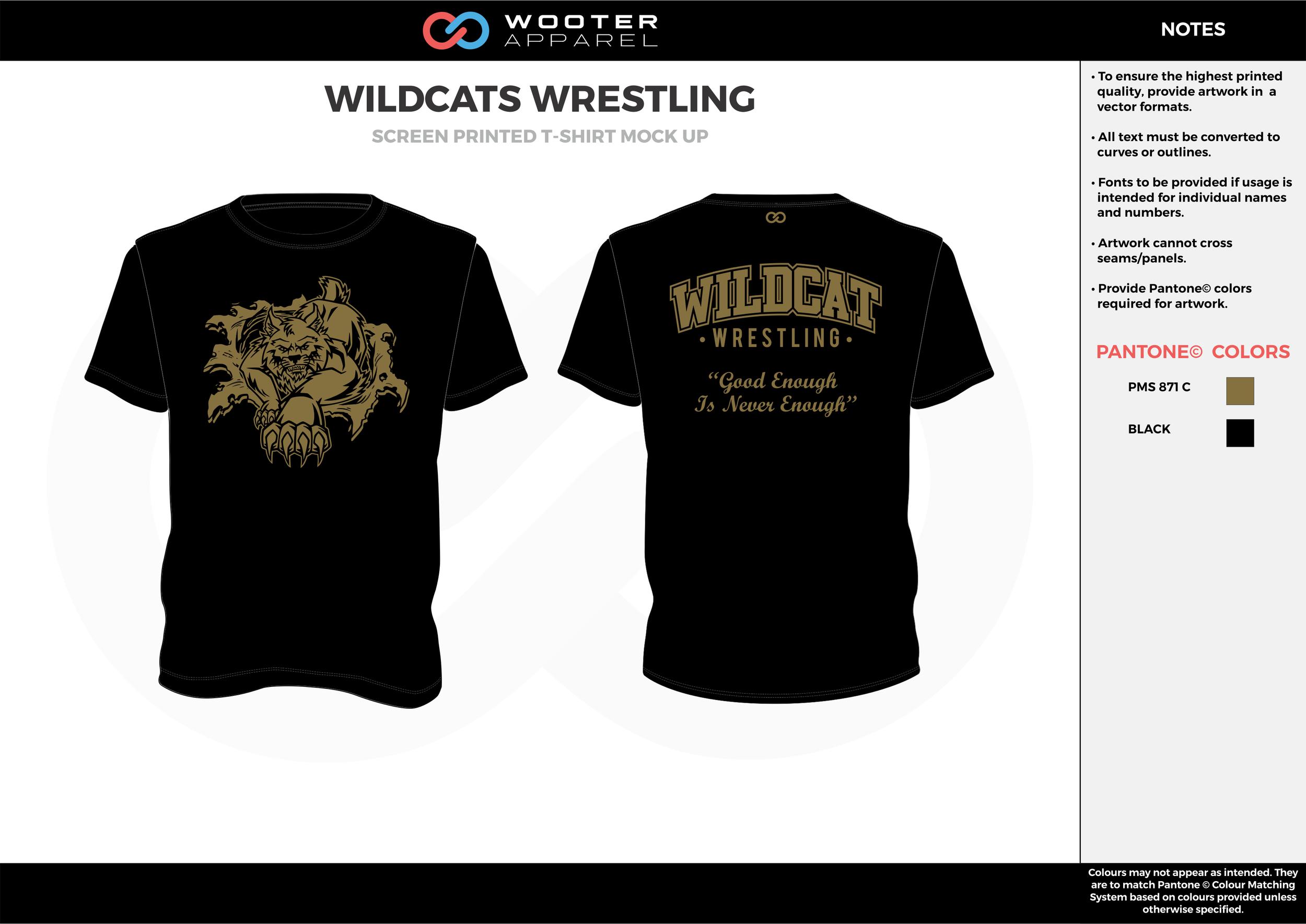 WILDCATS Brown Black Screen Printed Wrestling T-Shirt