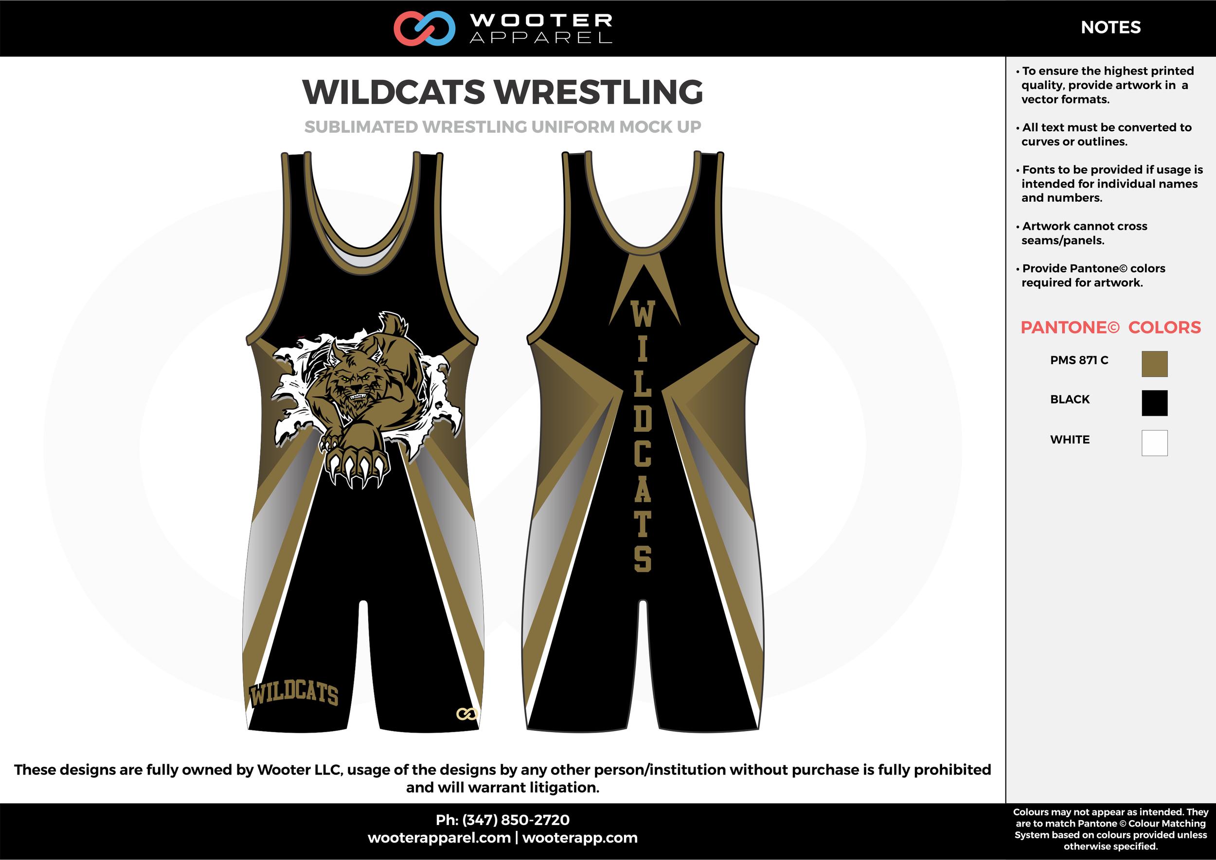 WILDCATS Black Brown White Sublimated Wrestling Uniform