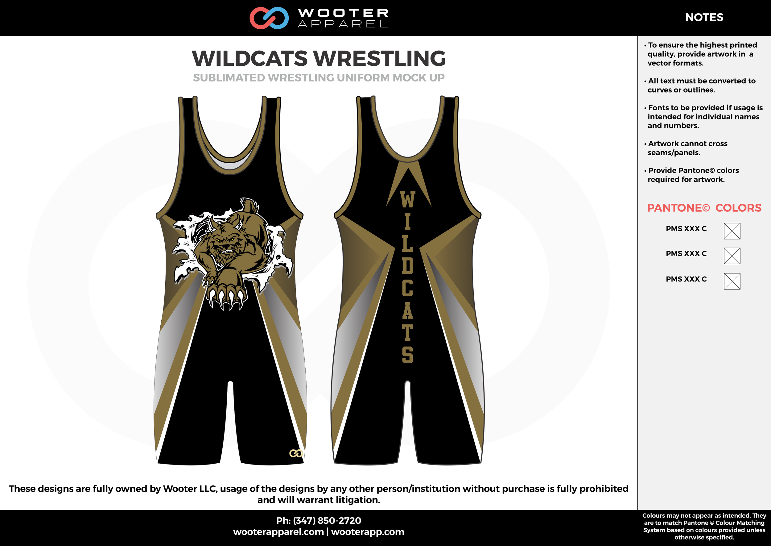 WILDCATS Black Brown White Sublimated Wrestling Singlet