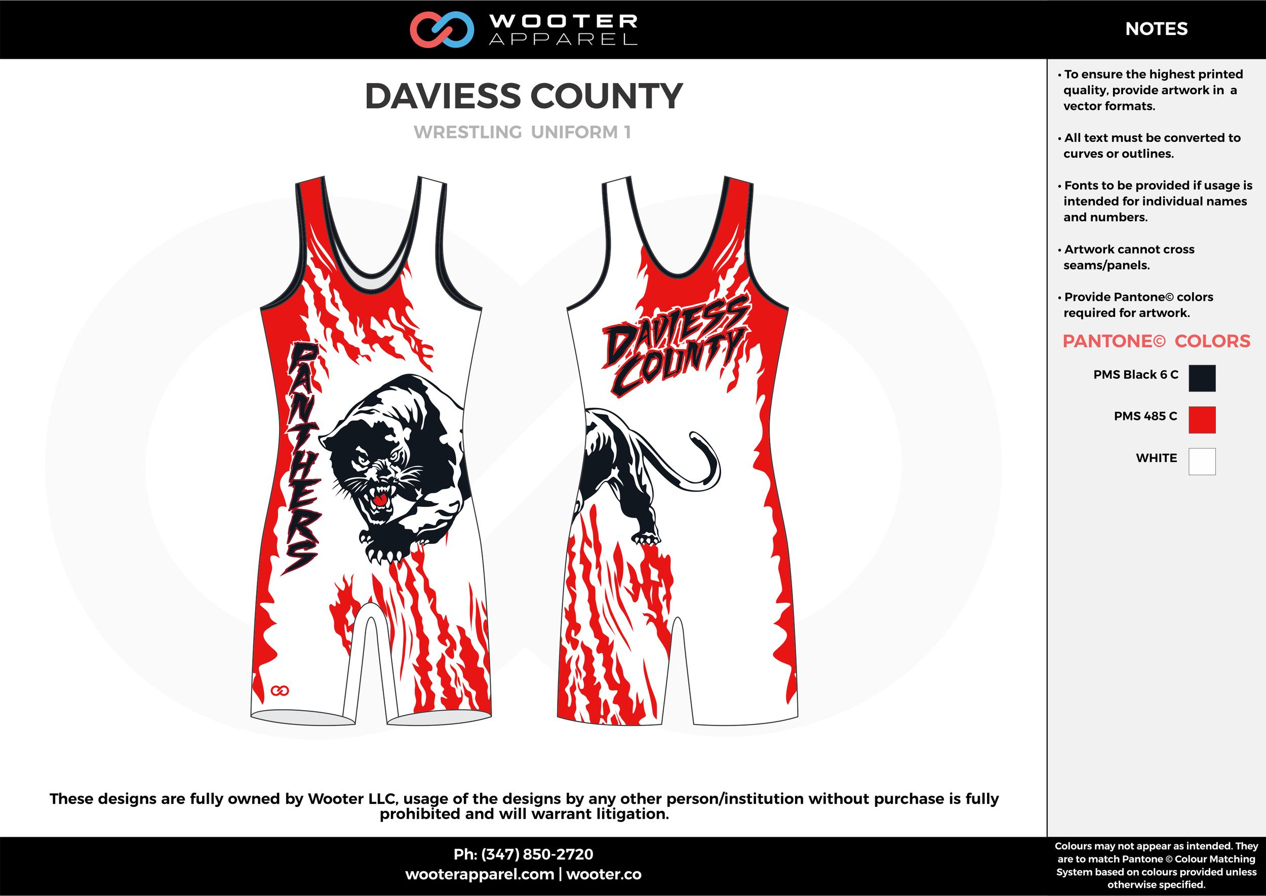 DAVIESS COUNTY Red White Black Wrestling Uniform 1