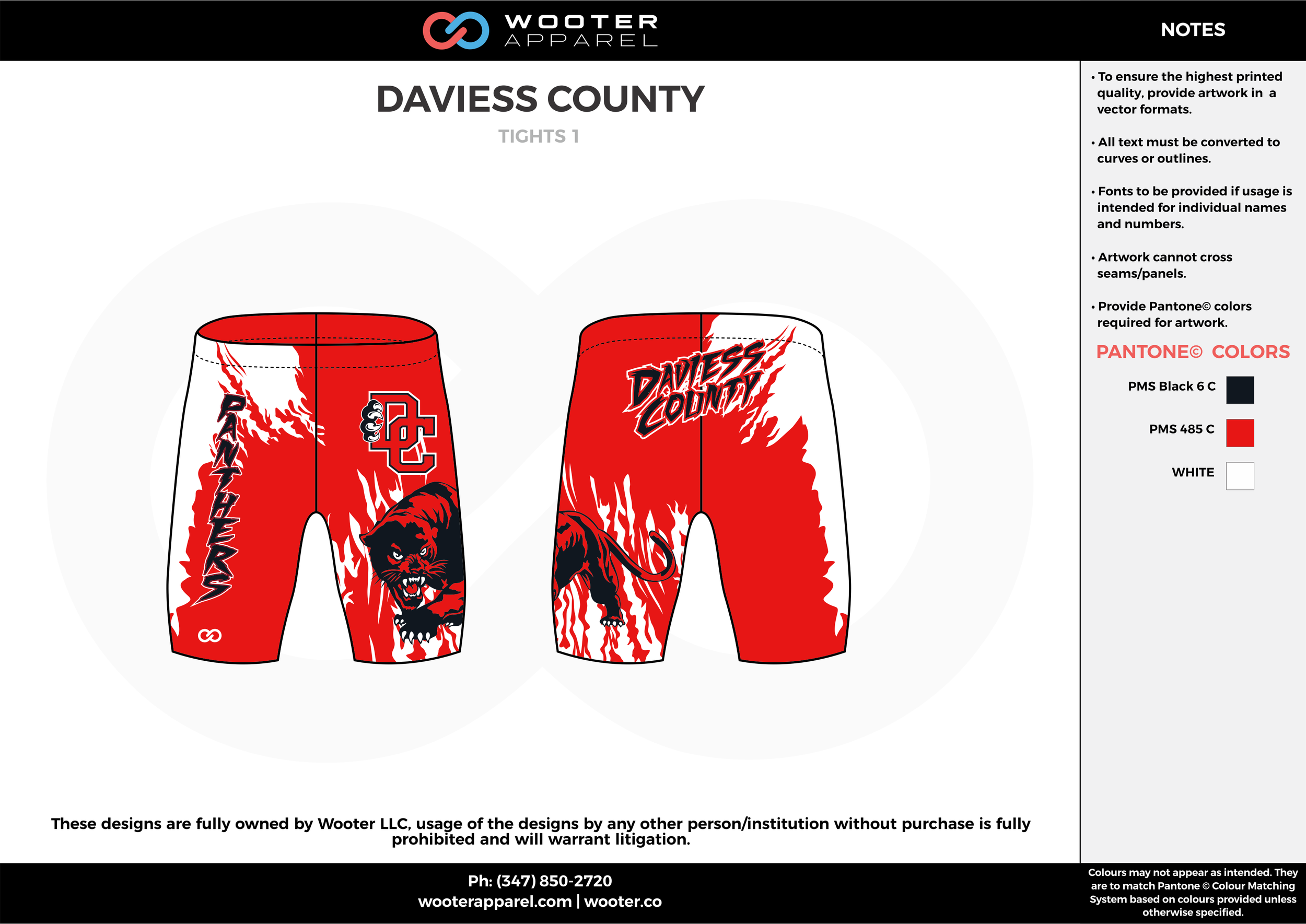 DAVIESS COUNTY Red Black and White Wrestling Uniforms Shorts