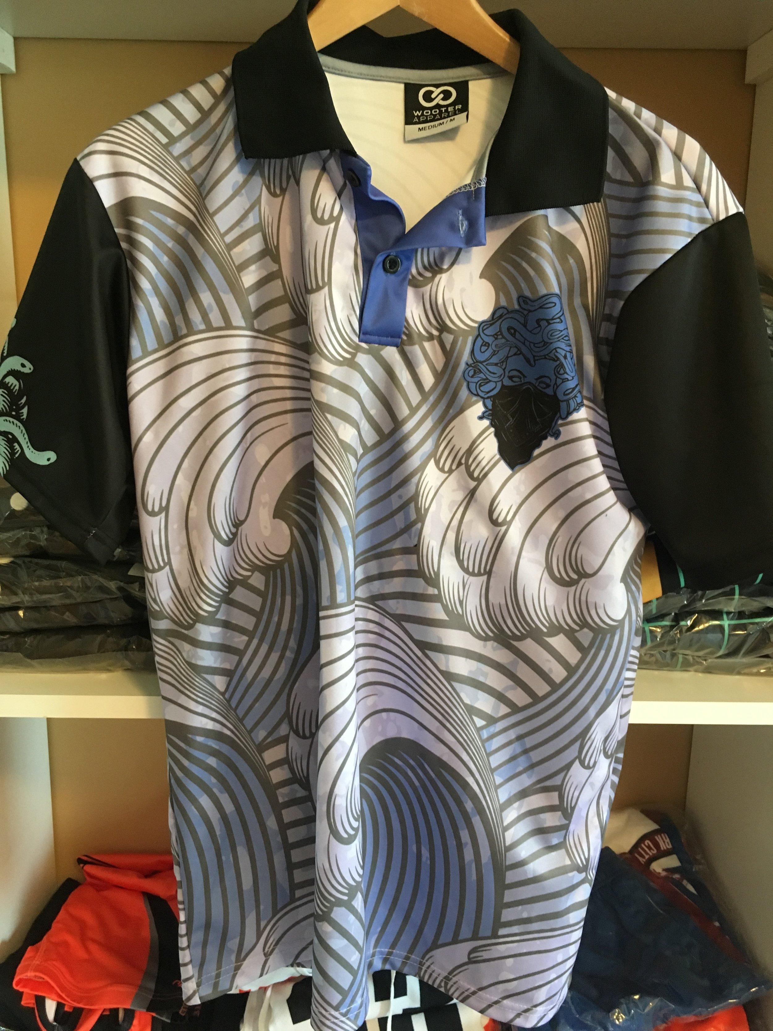 Black White Gray and Blue Lacrosse Uniform Polo shirt