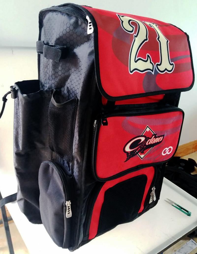 Red Black and White Baseball Bag