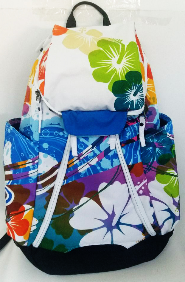 Green and Yellow Rockets Blue Backpack with Red