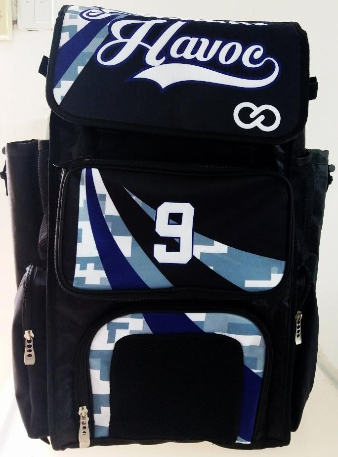 Havoc Black Blue Sky Blue and White Baseball Bag