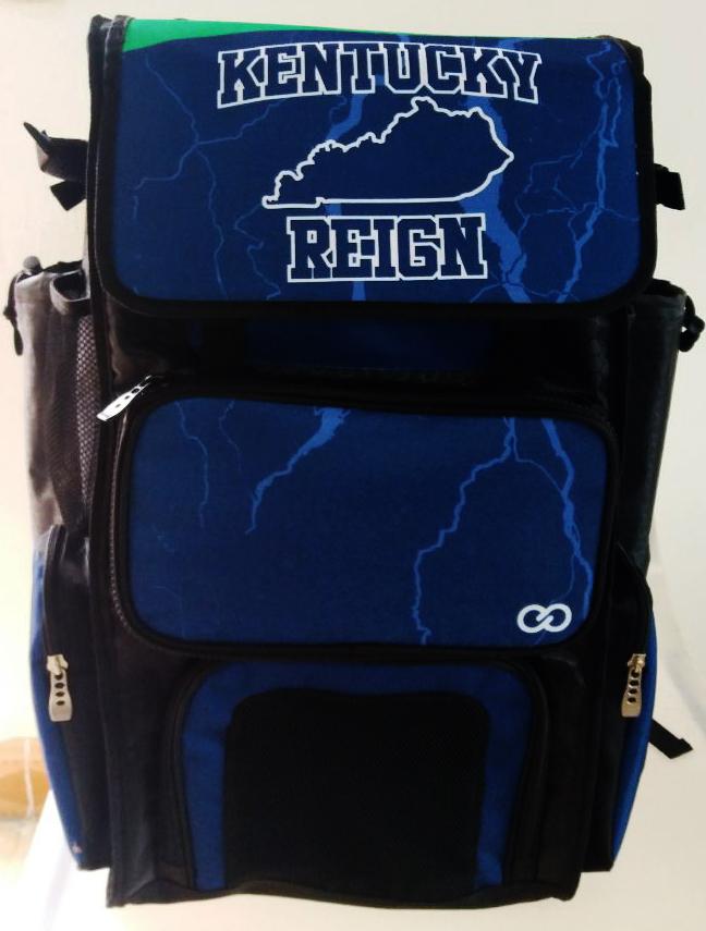 KENTUCKY REIGN Blue Black and White Baseball Bag