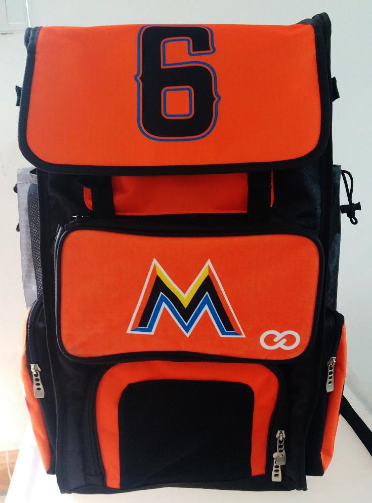 Orange Black Yellow Blue and White Baseball Bag