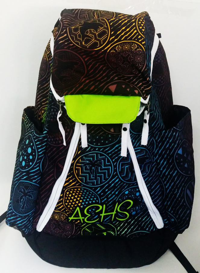 Yellow Blue Brown Red Black and White Basketball Backpack