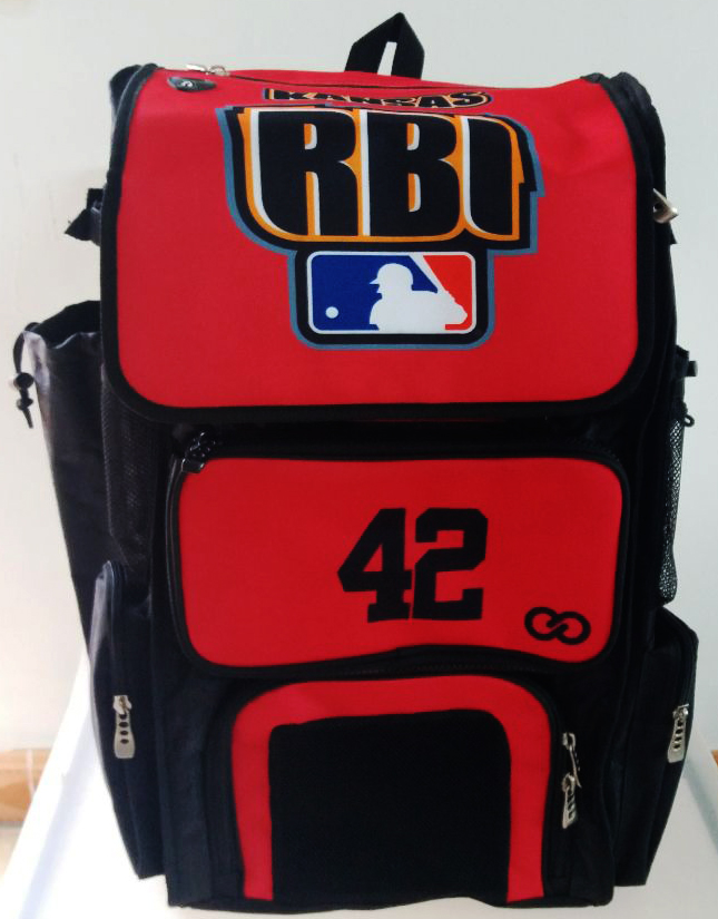 RBI Red Black Blue and White Baseball Backpack