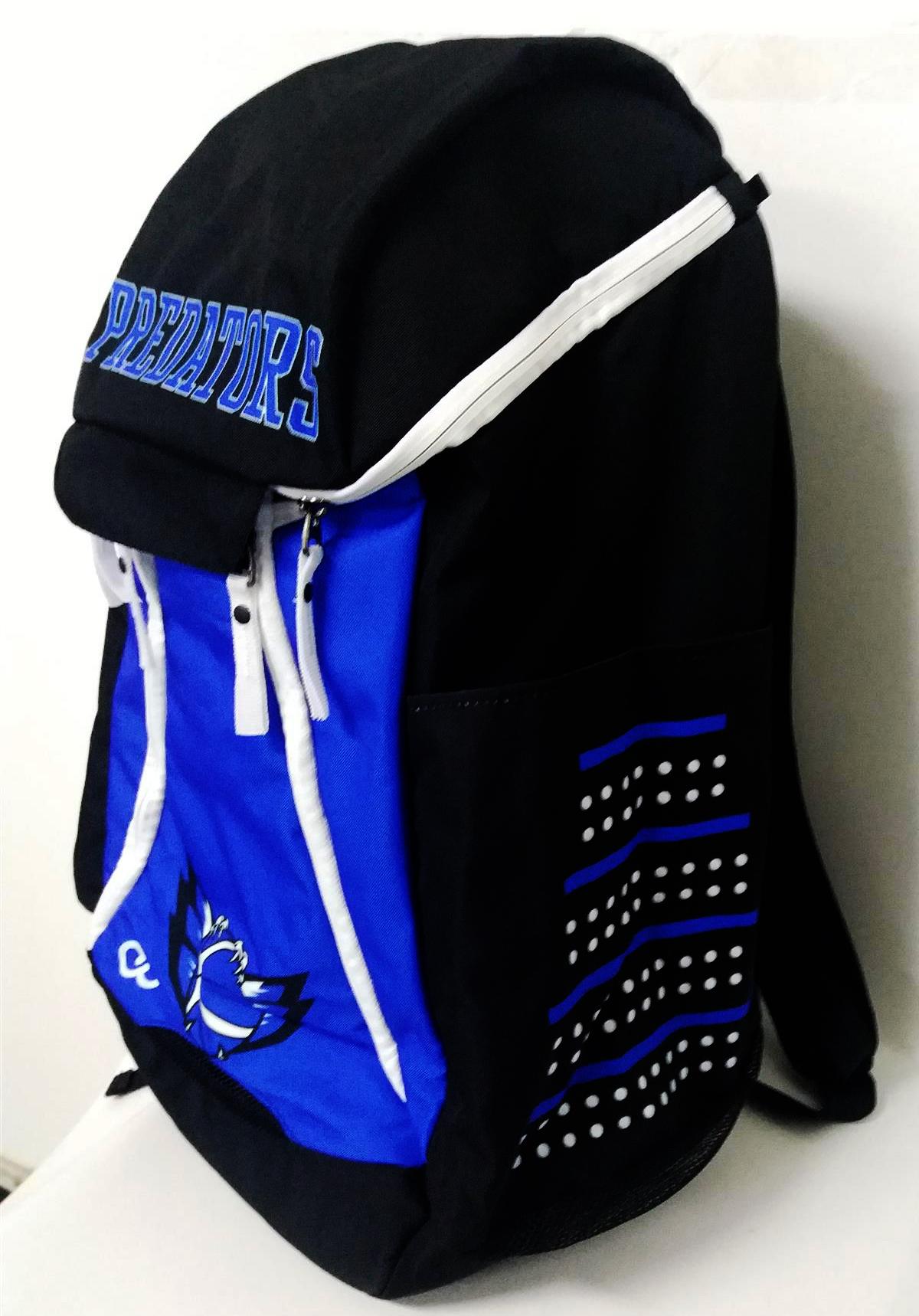 Blue Black and White Basketball Backpack