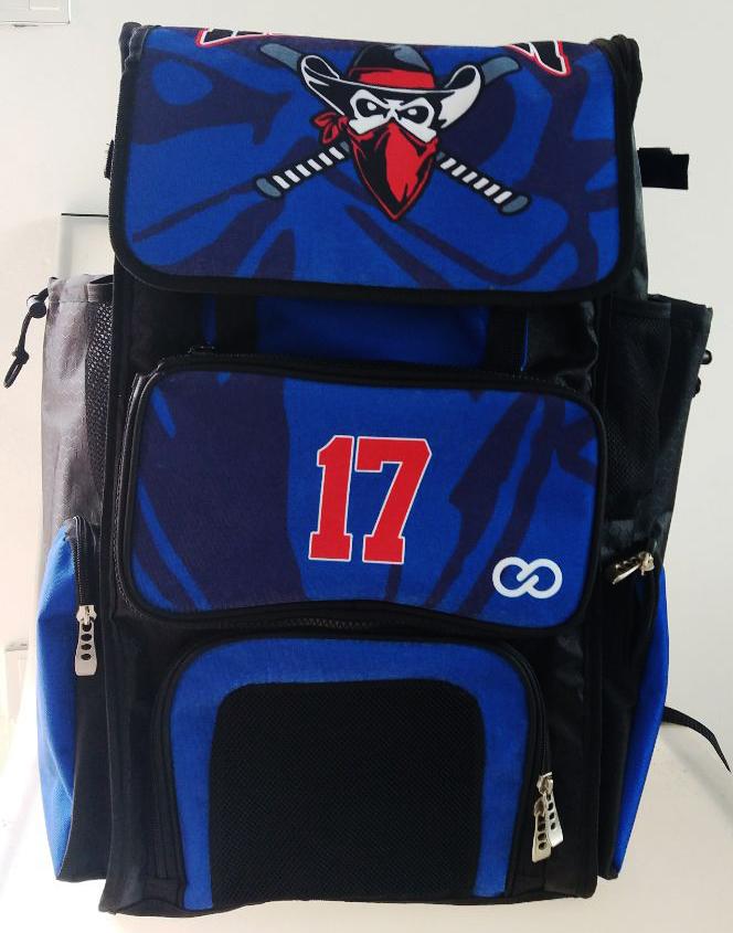 Blue Black White and Red Baseball Bag