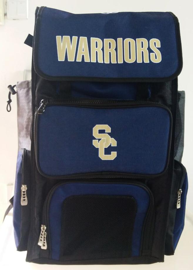 WARRIORS Blue Black and White Basketball Bag