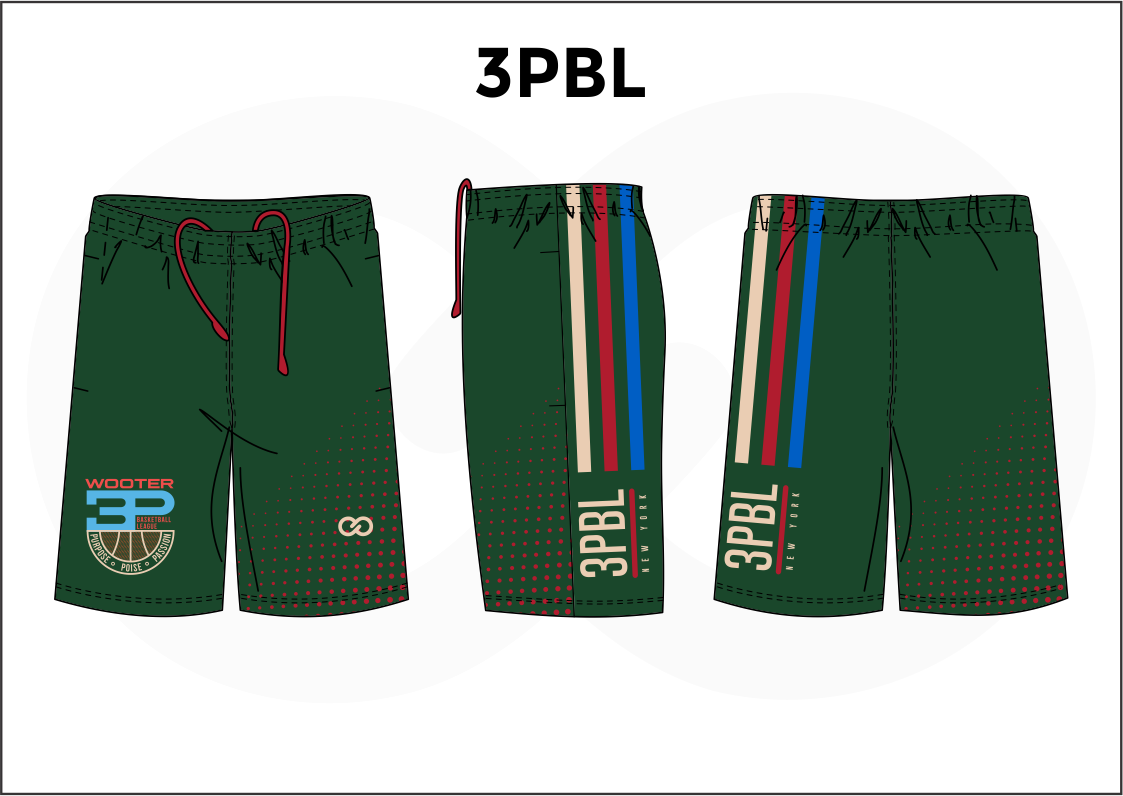 3PBL Green Blue Red and White Men's Basketball Shorts
