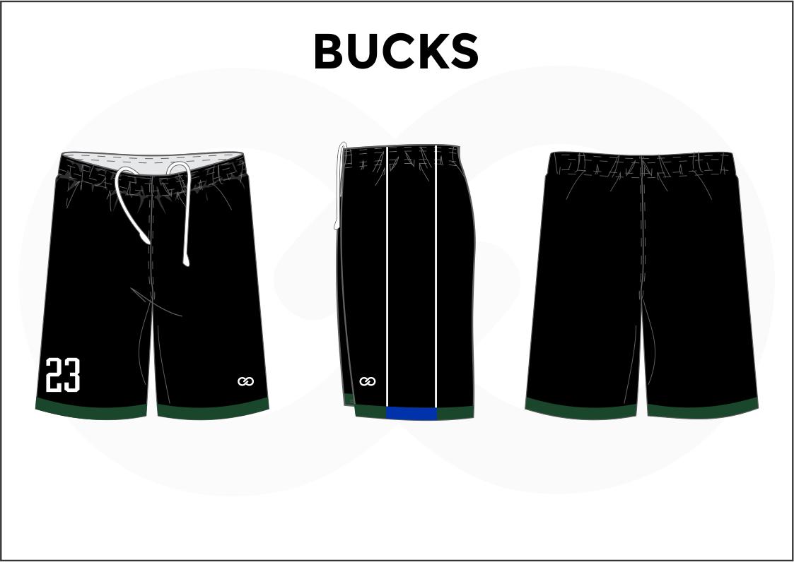 BUCKS Black Green Blue and White Men's Basketball Shorts