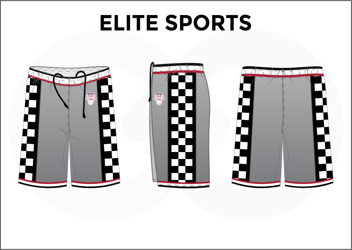 ELITE SPORTS Gray Black Red And White Men's Basketball Shorts