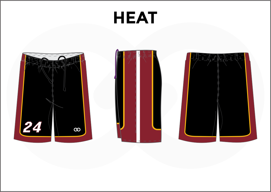 HEAT Black Red Yellow and White Men's Basketball Shorts