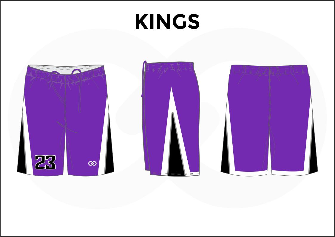 KINGS Violet White and Black Men's Basketball Shorts