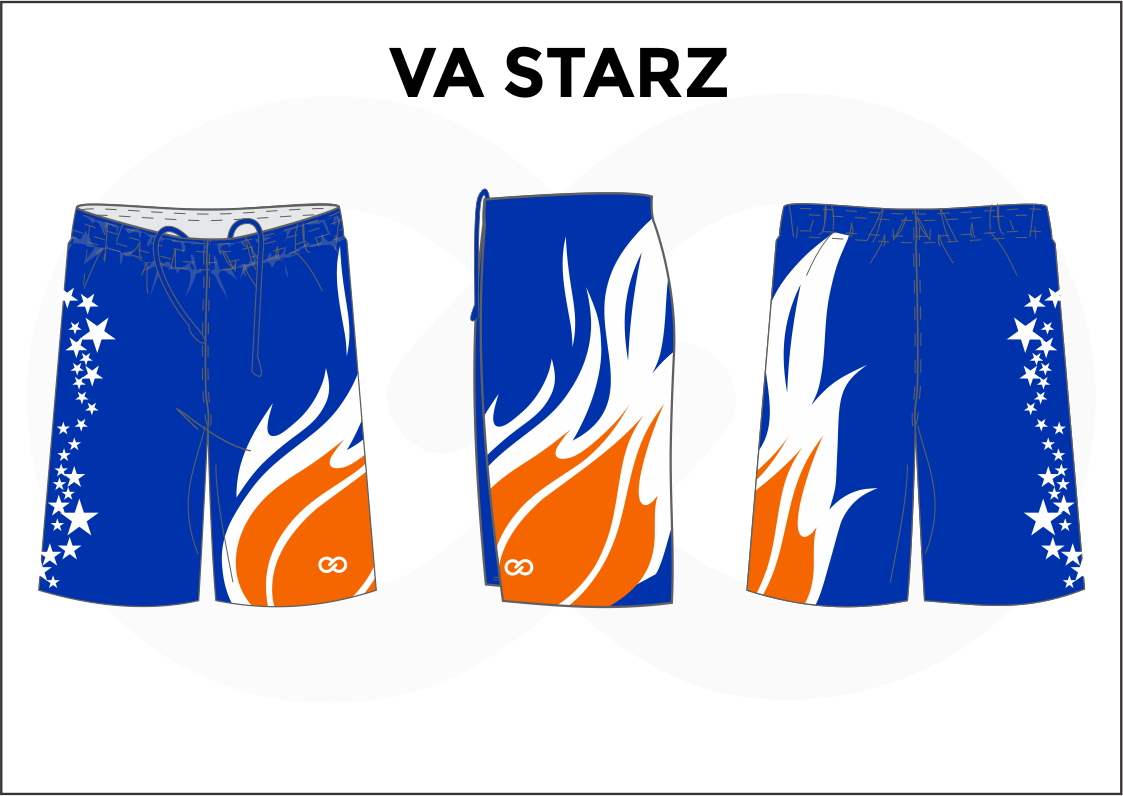 VA STARZ Blue White and Orange Men's Basketball Shorts