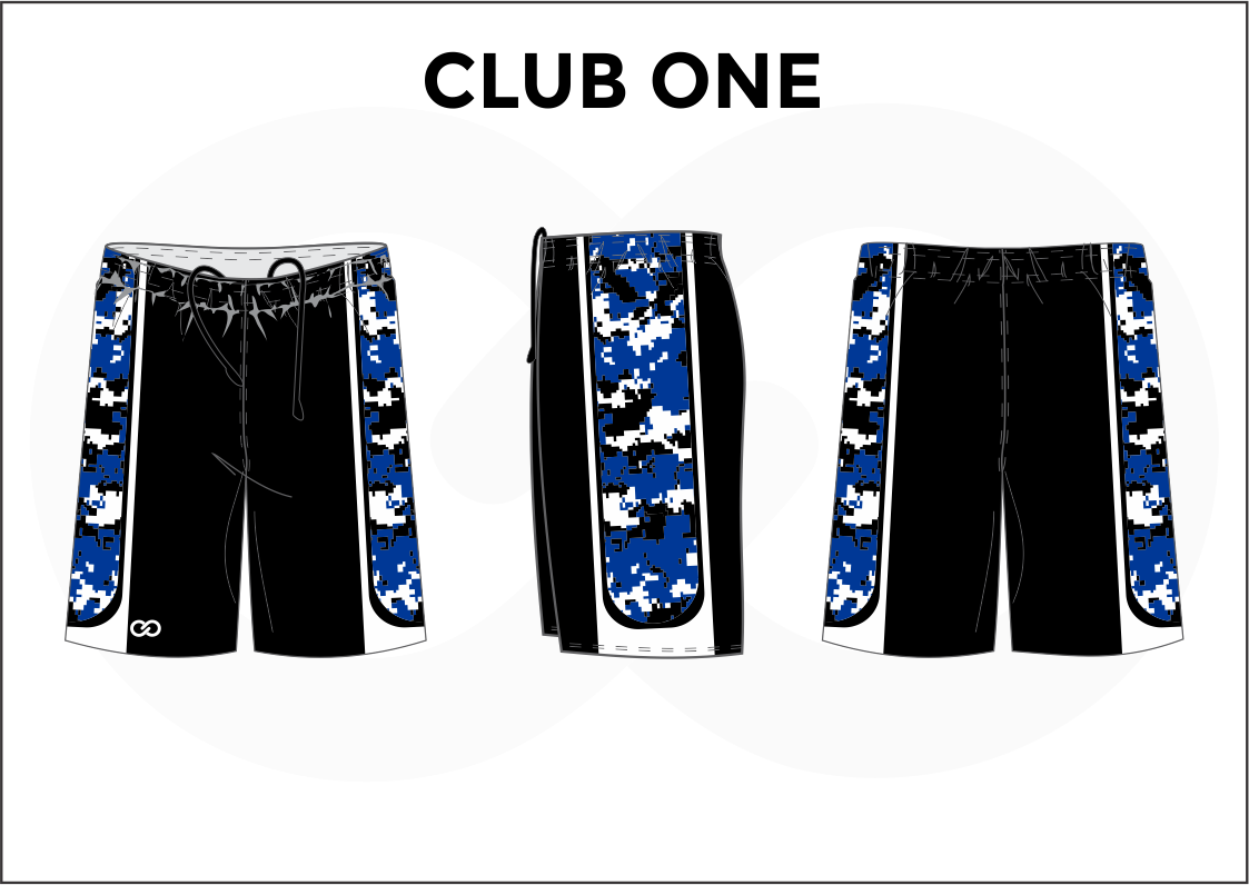 CLUB ONE Black Blue and White Women's Basketball Shorts