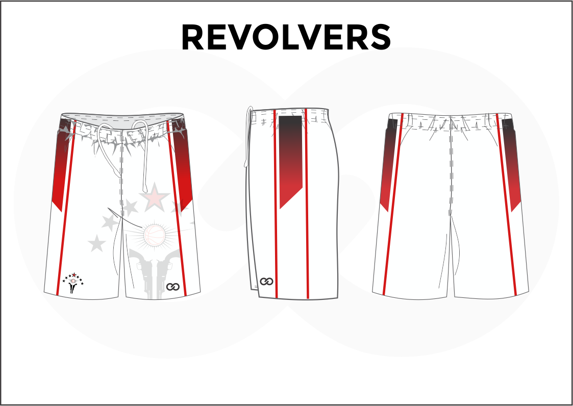 REVOLVERS Red Black and White Women's Basketball Shorts