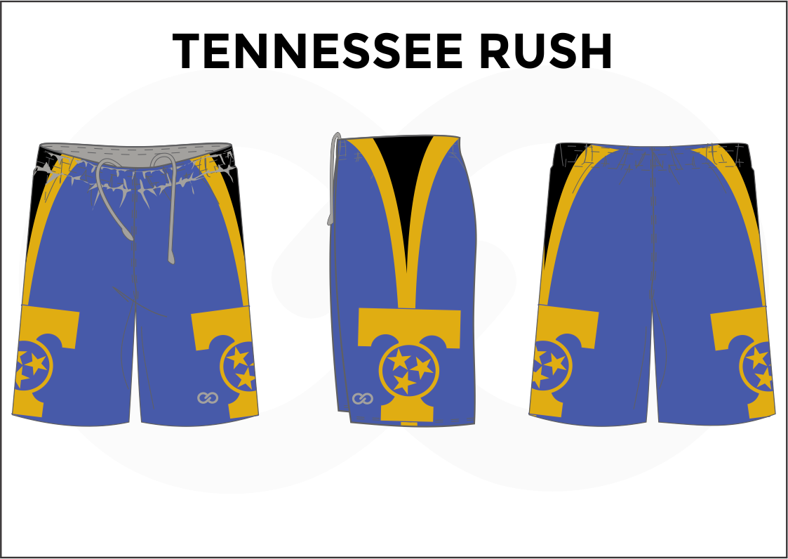 TENNESSEE RUSH Blue Black and Yellow Women's Basketball Shorts