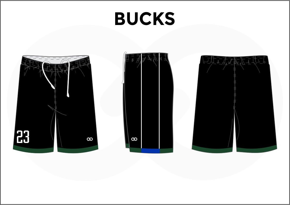BUCKS Black Green Blue and White Youth Boys & Girls Basketball Shorts