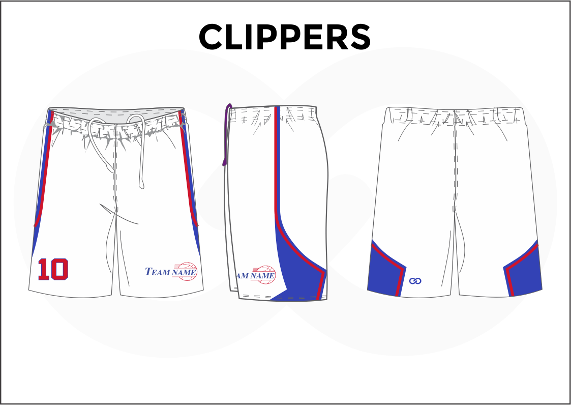 CLIPPERS White Blue and Red Youth Boys & Girls Basketball Shorts