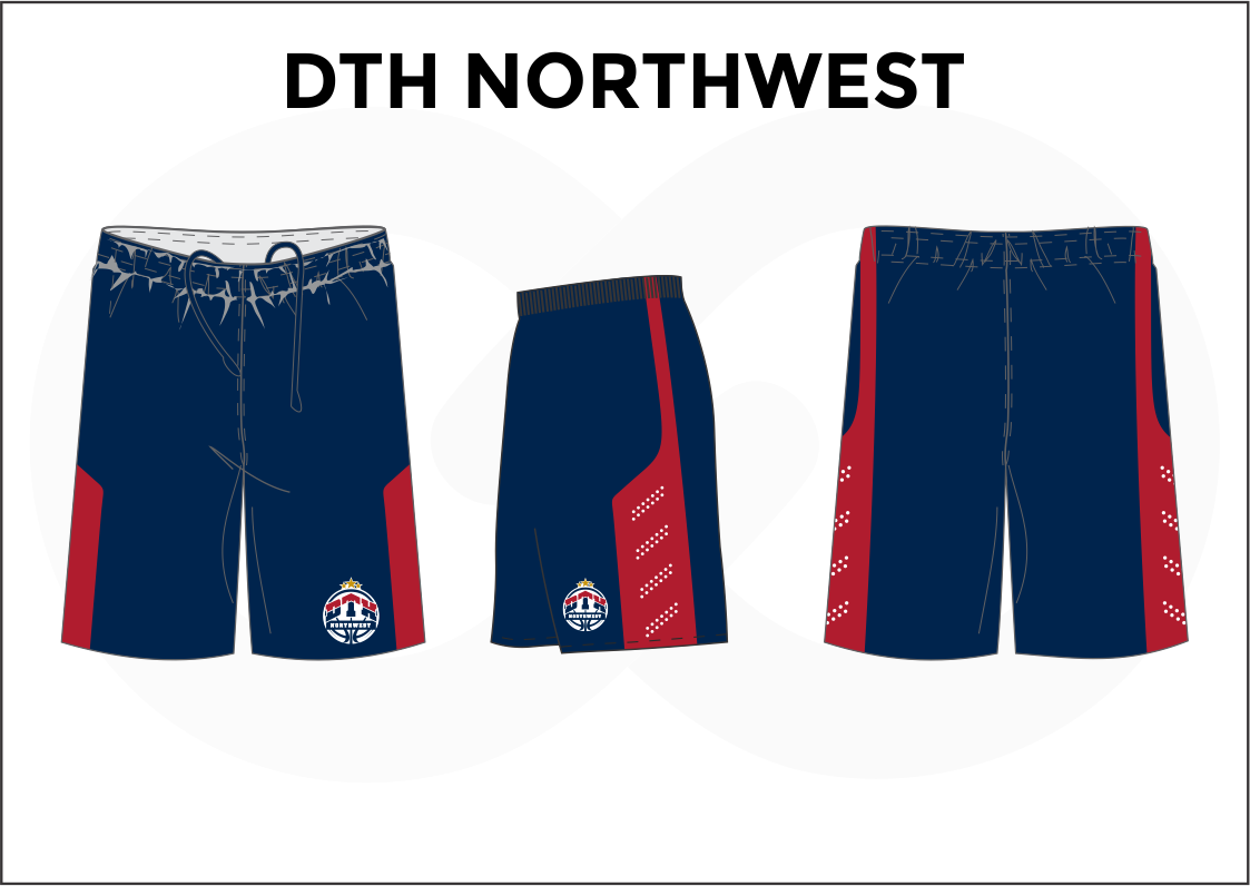 DTH NORTHWEST Blue Red and White Youth Boys & Girls Basketball Shorts