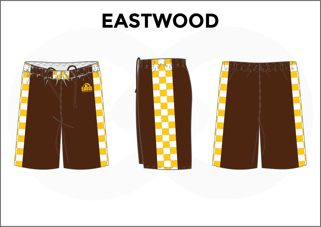 EASTWOOD Brown Yellow and White Youth Boys & Girls Basketball Shorts