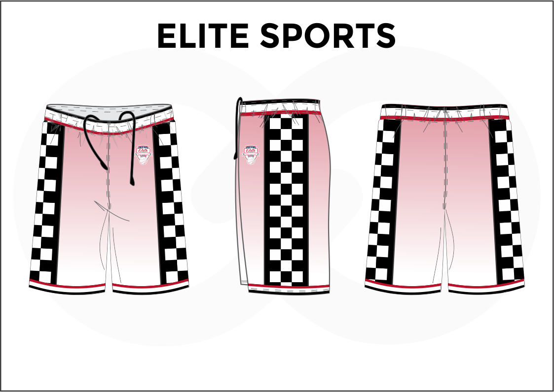 ELITE SPORTS Pink Black Red and White Youth Boys & Girls Basketball Shorts