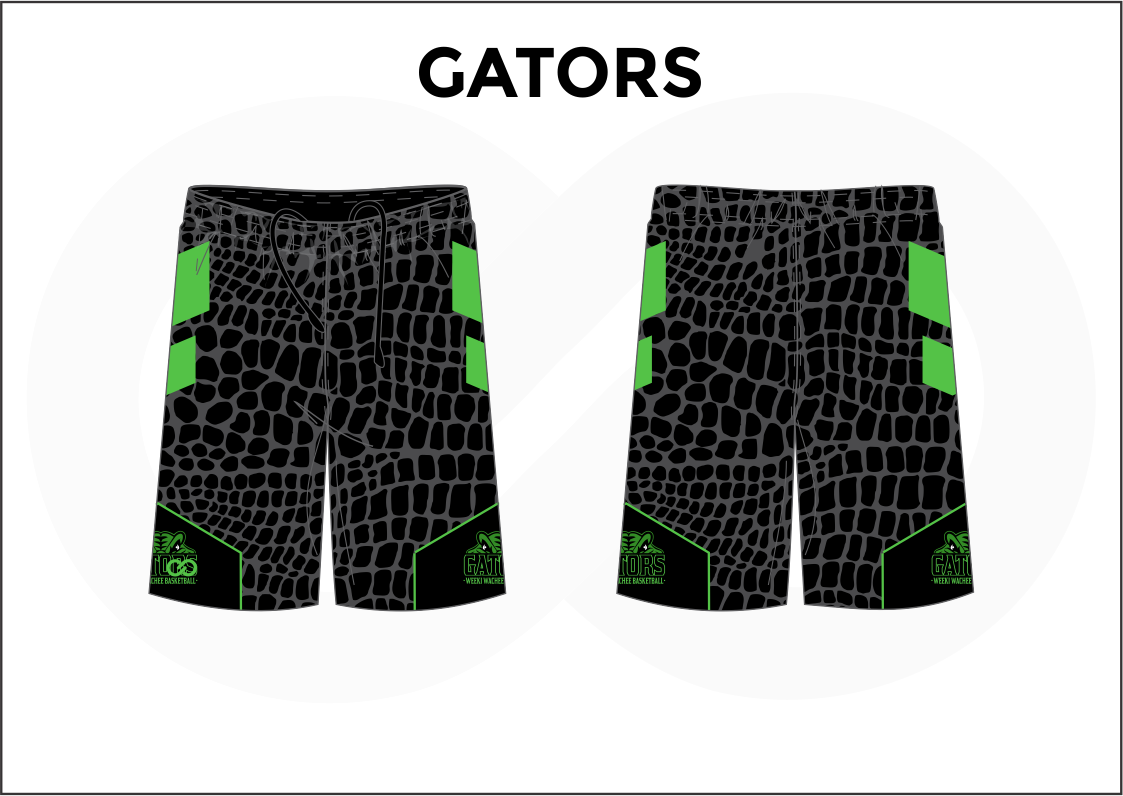 GATORS Black and Green Youth Boys & Girls Basketball Shorts