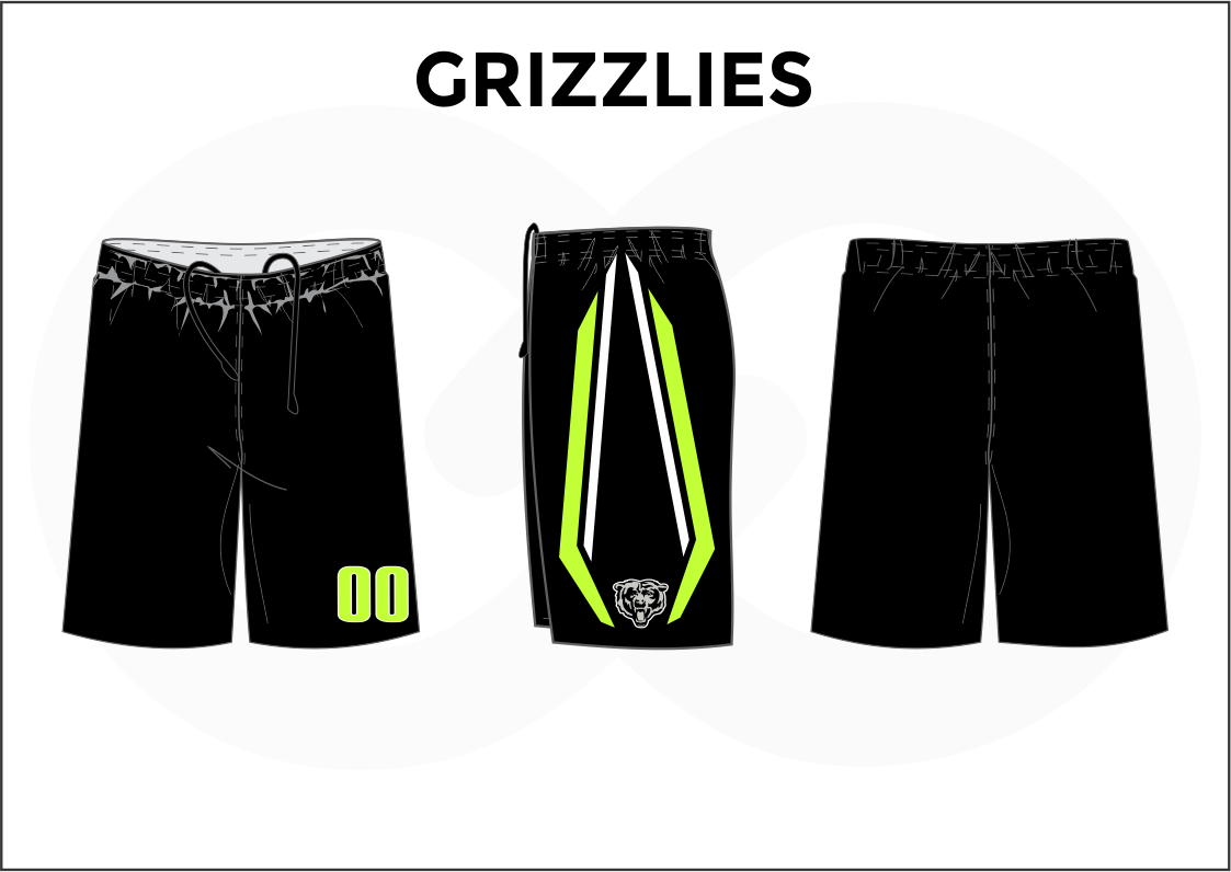 GRIZZLIES Black Yellow and White Youth Boys and Girls Basketball Shorts