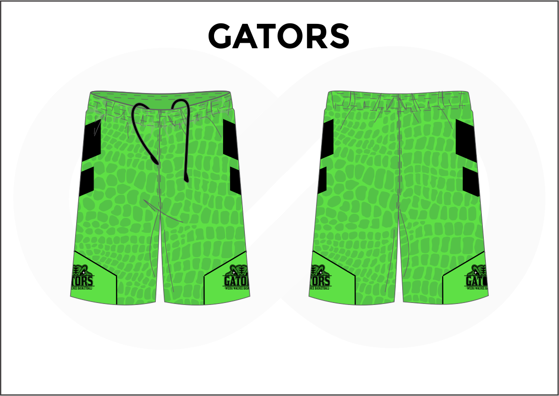 GATORS Green and Black Youth Boys & Girls Basketball Shorts