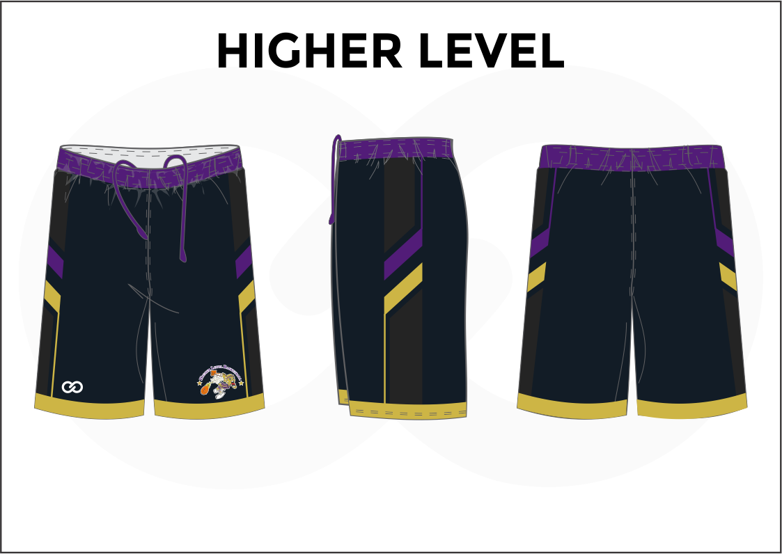 HIGHER LEVEL Violet Black Yellow and White Youth Boys & Girls Basketball Shorts