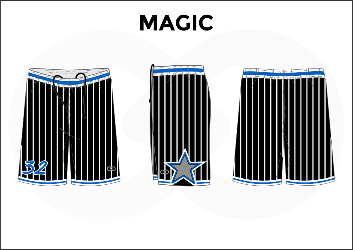 MAGIC Blue White and Black Youth Boys and Girls Basketball Shorts