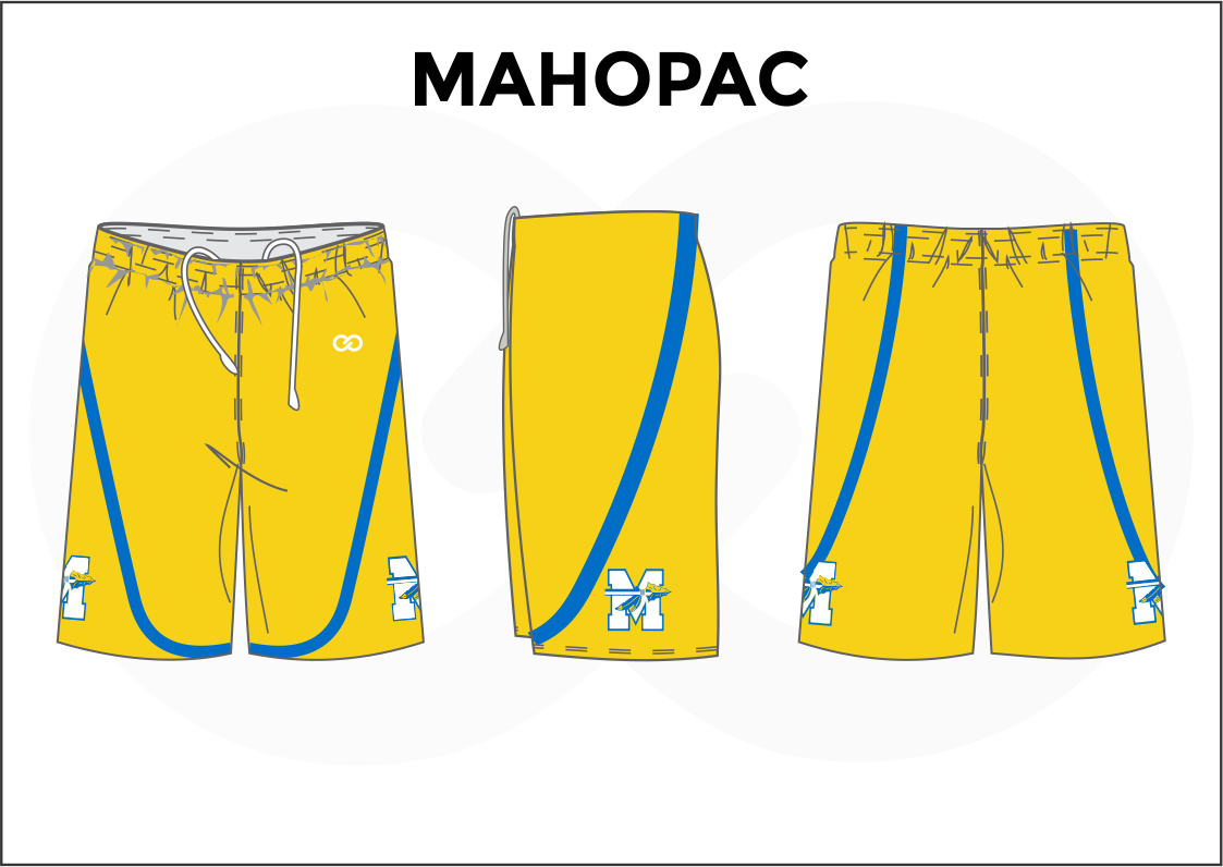 MAHOPAC Yellow Blue and White Youth Boys & Girls Basketball Shorts