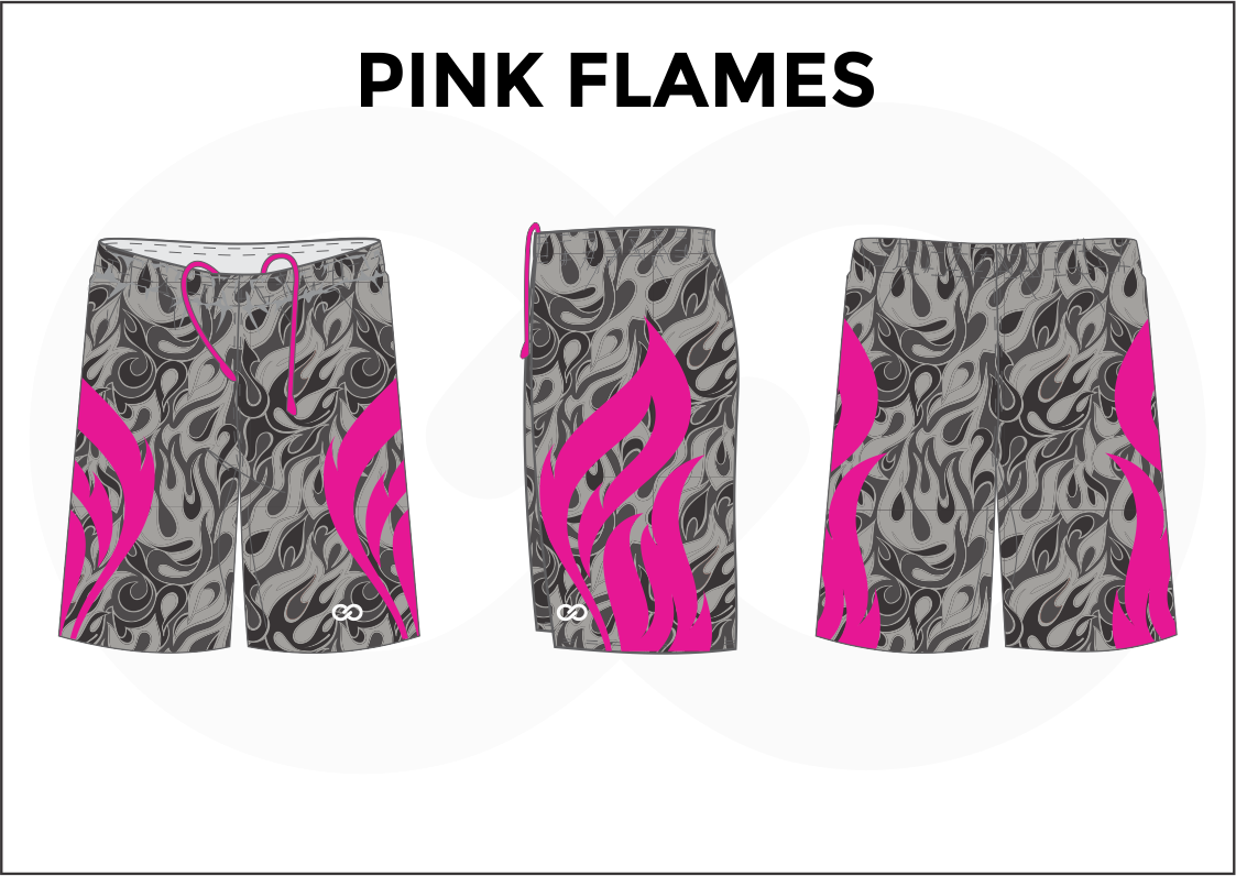 PINK FLAMES Pink Black Gray Youth Boys & Girls  Basketball Shorts