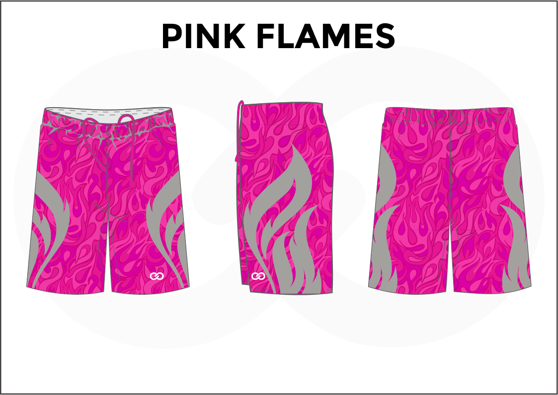 PINK FLAMES Pink Gray Youth Boys & Girls Basketball Shorts