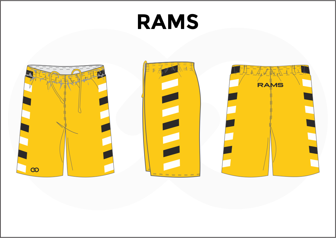 RAMS Yellow Black and White Youth Boys & Girls Basketball Shorts
