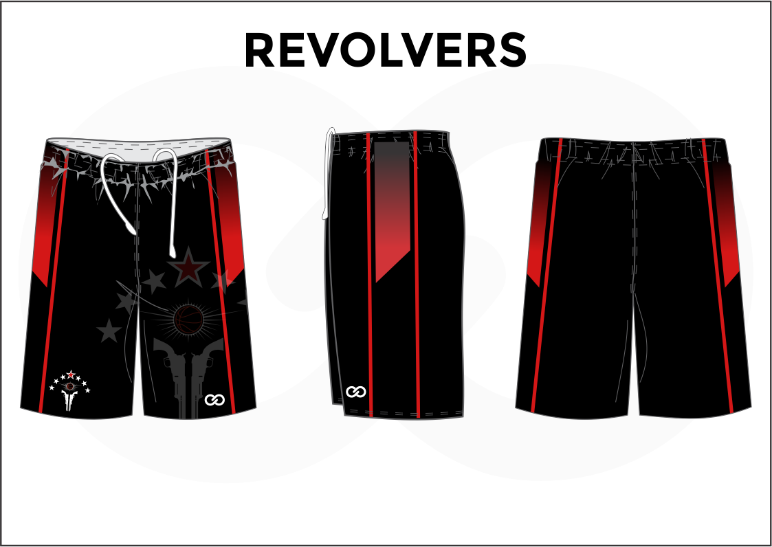 REVOLVERS Black Red and White Youth Boys & Girls Basketball Shorts