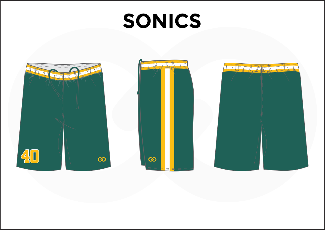 SONICS Green Yellow and White Youth Boys & Girls Basketball Shorts