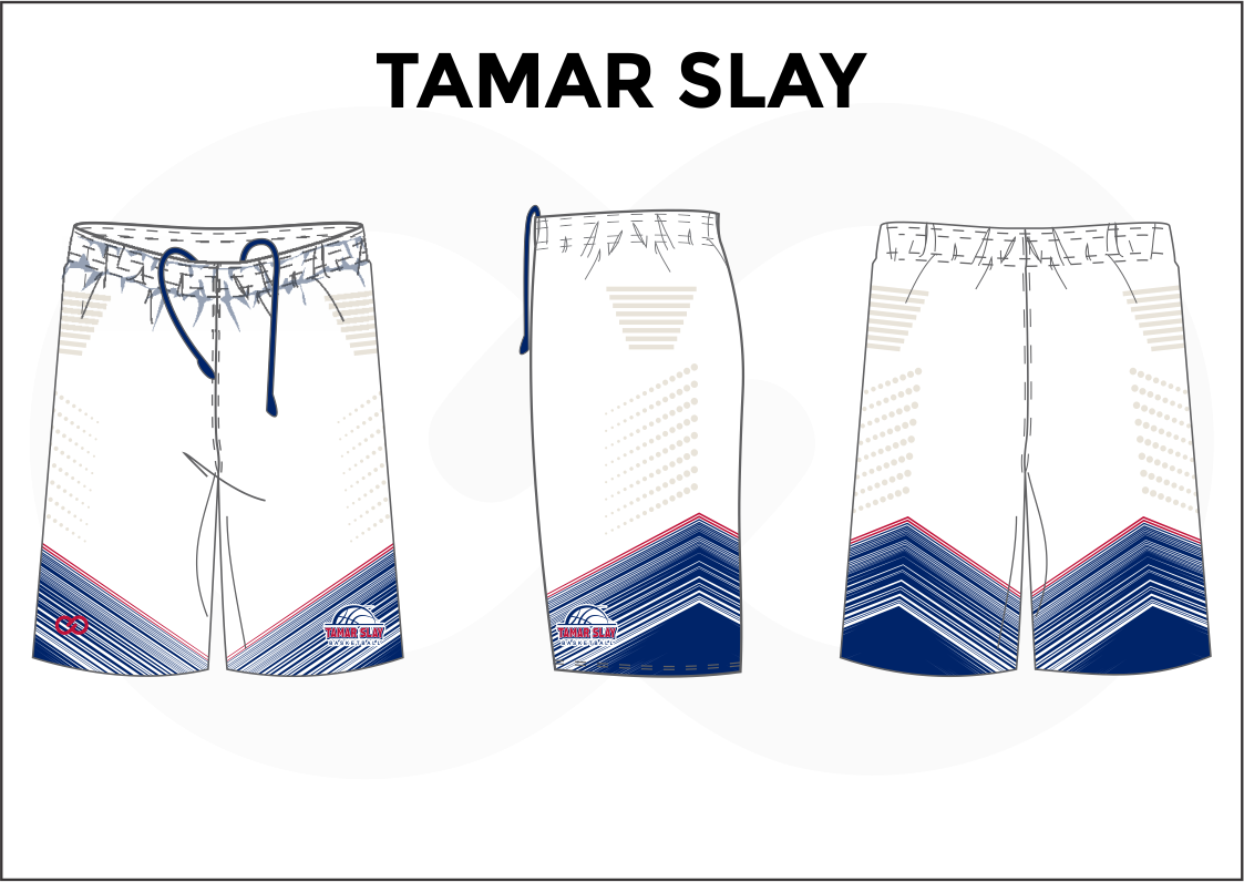 TAMAR SLAY White Blue and Red Youth Boys & Girls Basketball Shorts